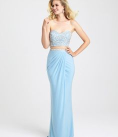 Madison James 16-384 Sky Blue Strapless Two Piece Long Dress 2016 Prom Dresses