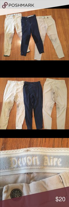 Devon Aire Riding breeches - lot of 3 All are Devon Aire. Some fading, staining, etc. Well worn but have plenty of life in them for schooling!   Concour Elite - light beige, ribbed, size 28R, surfed knee patches, elastic ankle closures  Black - size 28R, suede knee patches, Velcro ankle closures. Small hole in crotch area that can easily be sewn.  Tan - size 26R, suede knee patches, Velcro ankle closures. Devon Aire Pants