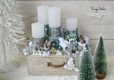 Advent 2018 Christmas And New Year, Winter Christmas, Christmas Time, Holiday, Christmas Advent Wreath, Christmas Table Decorations, Wreath Boxes, Candle Arrangements, Advent Candles