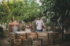 vintage crates for your DJ - sweet set up!