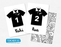 Kiwi Rugby Jersey Counting Cards in te reo Maori Maori Art, Early Childhood Education, Rugby, Teacher, Activities, Math, Cards, Kiwi, Counting