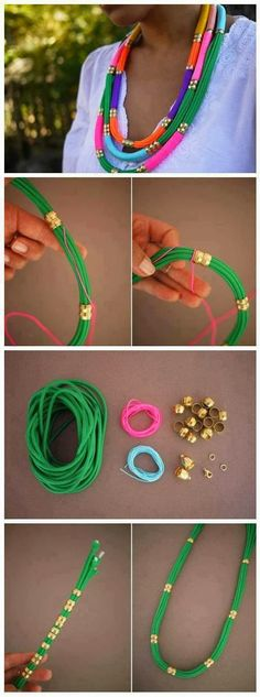 Make a Rope Necklace Such a necklace is really simple to make. Just find an ordinary rope in different colours. Make it through a metal rings and use a cord to tighten it up. You don't need to put much effort but in the end your new necklace might look fresh and elegant.