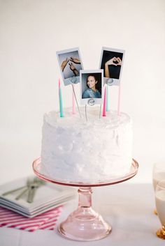 This DIY polaroid cake topper is so easy to make, takes no time at all and adds a fun factor to your cake! Change out the pictures to suit your party theme! Adult Birthday Party, Birthday Diy, Birthday Celebration, Cake Birthday, Diy Cake Topper, Birthday Cake Toppers, Pretty Cakes, Cute Cakes, Pastell Party