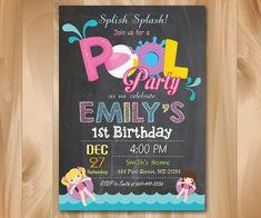 Pizarra de invitación fiesta de piscina. por PrettyPartyDesign