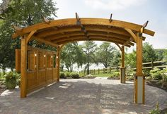 Arched Wood Pergola is made from durable Douglas fir in a Redwood finish. ThisArched Wood Pergola is perfect for an outdoor wedding that you want to be what you have been in your dream. The pergola includes an anchor system and is ready to assemble. Diy Pergola, Retractable Pergola, Backyard Canopy, Wood Pergola, Pergola Canopy, Pergola With Roof, Cheap Pergola, Outdoor Pergola, Pergola Shade
