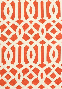 Kelly Wearstler's Treillage | One of Schumacher's most popular and photogenic prints. This geometric design, was inspired by Asian fretwork, enlarged to a bold yet completely versatile scale for both fabric and wallcovering. Imperial Trellis II in Ivory / Mandarin, 174410. http://www.fschumacher.com/search/ProductDetail.aspx?sku=174410