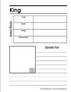 King-notebooking page - could be used for the kings of Israel and Judah Notebook