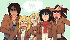 What are they staring at?<<<<< they must be staring at a boy because they all girls....just saying. it could Eren   or Levi...