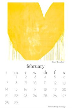 2016 Free printable artist collaboration desktop calendar.  February features artist Kerri Rosenthal's Drippy Heart.