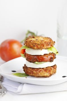 Fried Caprese Salad | You already know that one of my favorite flavor combinations is that of fresh tomatoes (preferably home grown), fresh mozzarella and basil, sprinkled with kosher salt and drizzled with liquid gold (normal people call it extra virgin olive oil) These ingredients make up the iconic Caprese salad. | From: bellalimento.com
