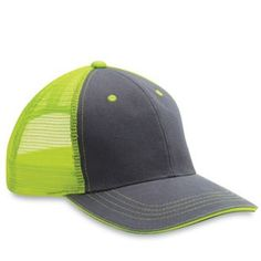 6 NEW Blank Neon Yellow   Charcoal Hi VIZ   Twill Mesh Trucker Hats - NICE! 4e96c7ae8143