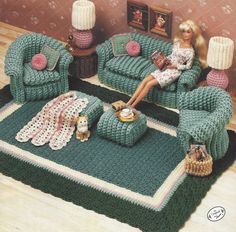 90s Classic Living Room Crochet Doll Furniture for by CloesCloset