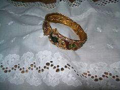 Enamel rhinestone clamper bracelet, vintage clamper bracelet, rhinestone bracelet, holiday bracelet by vintagebyrudi on Etsy