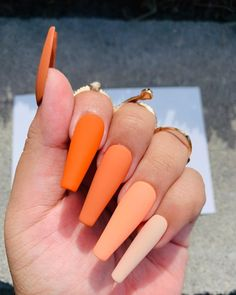 Shop our Fall Vibes set and matching rings in the link in the bio! Swipe to see our Basilisk ring. Orange Acrylic Nails, Acrylic Nails Coffin Short, Simple Acrylic Nails, Summer Acrylic Nails, Orange Nails, Simple Nails, Coffin Nails, Summer Nails, Acylic Nails