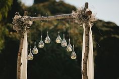 dangling gum leaves wedding arch - Google Search