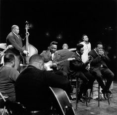 The talent in this picture is unbelievable. L-R: Big Joe Williams, Bukka White, Willie Dixon, Muddy Waters, Sunnyland Slim, James Madison, Mabel Hillary, James Cotton (CBC- TV Studios - January 1966)...