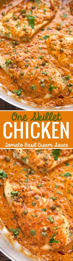 One Skillet Chicken with Tomato Basil Cream Sauce - Easy one skillet chicken dinner, ready in 30 minutes! #chickendinner #skilletchicken #roastedchicken | Littlespicejar.com