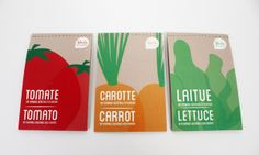 Packaging for vegetable seeds where the seeds are in tearable paper stamps. Vegetable Packaging, Fruit Packaging, Seed Packaging, Packaging Design, My Design, Graphic Design, Ads Creative, Seed Packets, School Projects