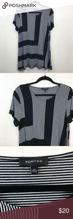 SPENSE Striped Short Sleeve Shirt Beautiful and flattering Spense short sleeve shirt! Black and white with a striped pattern. The material is very soft!   New without tags. Never worn. Clean and cute!  If you have any questions, comment below!  Make me an offer or bundle for mega savings. Bundles of 3+ get 15% off! Spense Tops