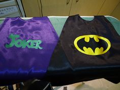 Reversible Batman and The Joker superhero cape! Made out of satin with velcro at the neck. Sized for a toddler.
