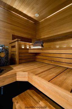 Passiivikivitalo Pekkarinen - sauna | Asuntomessut Sauna Design, Sauna Room, Log Homes, Relax, Stairs, Saunas, Spa, Design Ideas, Bathroom