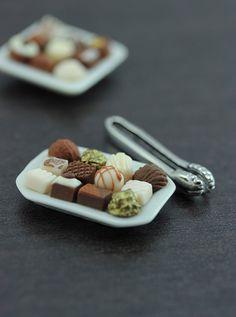 Tiny Chocolate Treats Platter - 1/12 Dollhouse Miniature Dessert Check out missdollhouse.com