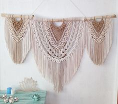 Large Macrame Wall Hanging, Tapestry Wall Hanging, Wall Hangings, Macrame Design, Macrame Art, Macrame Knots, Macrame Jewelry, Macrame Projects, Crafty Projects