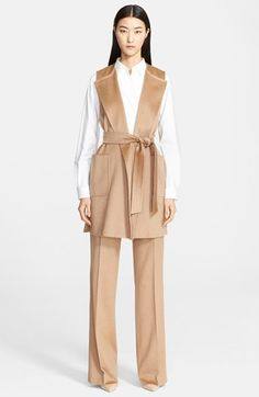 Free shipping and returns on Max Mara 'Fascino' Long Camel Hair Vest with Belt at Nordstrom.com. A golden sheen draws the eye to this gorgeous camel's hair topper styled with turn-back lapels and deep patch pockets. A wide, coordinating belt nips in the long silhouette to flatter feminine curves.