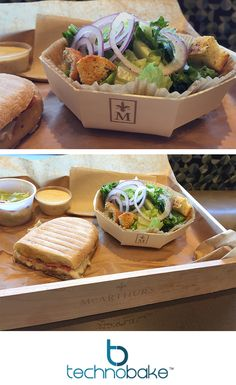 Panibois wooden baking molds and gift crates used to serve orders in a cafe. 100% biodegradable. Environmentally friendly, semi disposable dishes.