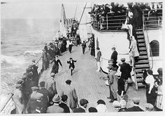 People watching games on the deck of the Mauretania in 1911 (Library of Congress)