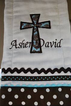 Personalized Cross Applique Burp Cloth...Christening, Baby Dedication, Easter. $12.00, via Etsy.