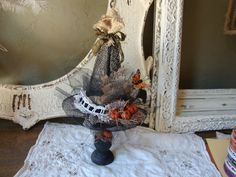 Halloween centerpiece table decoration witch hat by PaperAndMache, $35.00