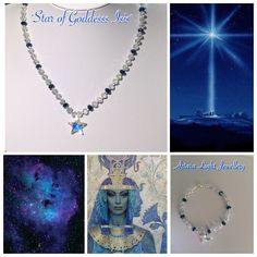 Star of Isis Necklace $44 Bracelet $22 Goddess Isis helps us to awaken and align to our Divine Wisdom our Goddess power. Opening of the 3rd eye & expanding of our consciousness. Made with 6mm clear & blue crystal beads featuring a 14mm Swarovski Star.