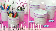 DIY ♥ Do LIXO ao LUXO ♥ Reciclando e Decorando ✂ Organizadores escolar e...