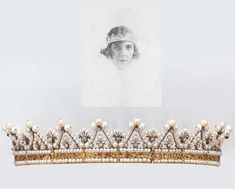 AN ANTIQUE PEARL AND DIAMOND TIARA  Designed as a series of pearl and old-cut diamond arches to the fan- shaped spacers and two-row pearl and engraved gold band (pearls untested), circa 1830, lengthened to wear as a bandeau with gilt metal and imitation pearl back section, 21.5 cm. wide