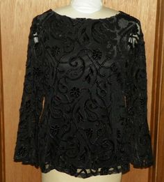 8317a5c2bf5662 Charter Club Black Sheer Lined Floral Blouse Shirt with Bell Sleeves Size L  NEW  CharterClub