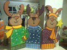 Renos navideños en madera