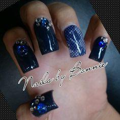 Navey Blue Nails Prom Nails Lace Nails Bling Nails