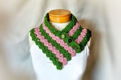 Striped  button scarf Pink green crochet  neck by 910woolgathering