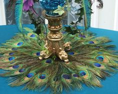 22 Peacock Feather Place Mat or Centerpiece Decoration by Ivyndell, $45.00