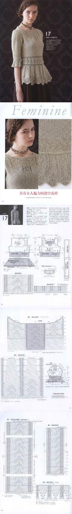 【转载】米色中袖镂空衫 - 余妈妈的日志 - 网易博客 | вязание | Постила