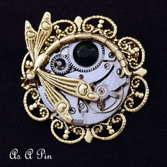 Eye of Horus - Surrealistic Steampunk Ancient Egyptian Symbol Of Protection - UNISEX Convertible Necklace Pin - Watch Movement And Dragonfly on Etsy, $98.20