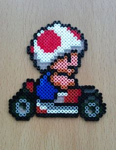 Toad Sprite Magnet from Super Mario Kart hama beads  by PixelBeadPictures