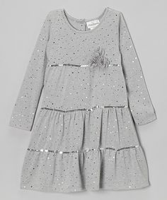 Take a look at this Silver Sparkle Tiered Dress - Girls on zulily today!