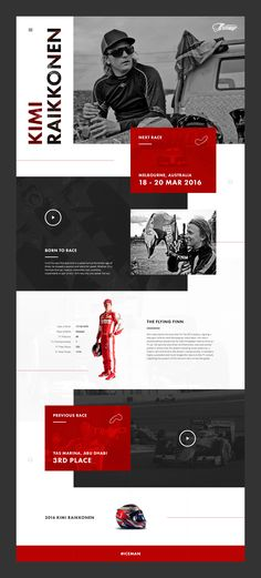 A design experiment in breaking the grid. Concept landing page design for Formula 1 driver Kimi Raikkonen.