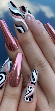 170 attractive acrylic nails in coffin design ideas for this summer - page 4 Best Acrylic Nails, Summer Acrylic Nails, Acrylic Nail Designs, Nail Art Designs, Nails Design, Summer Nails, Glam Nails, Dope Nails, Bling Nails
