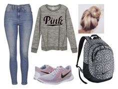 """""""School Started Today :("""" by marsophie ❤ liked on Polyvore featuring NIKE, Topshop, women's clothing, women's fashion, women, female, woman, misses and juniors"""