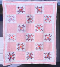 Antique 1800's Patriotic Red and Blue Feathered Star Quilt~Fun Print, eBay, whisper-hill