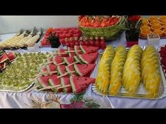Summer BBQ + Picnic Recipes to Enjoy All Summer Long   ohmychow Fruit Party, Party Food And Drinks, Snacks Für Party, Appetizers For Party, Luau Party, Fruit Tables, Fruit Buffet, Fruit Display Tables, Fruit Displays