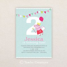 Girls Birthday Party Invitations. Fairy Peppa Pig. I Customize, You Print.